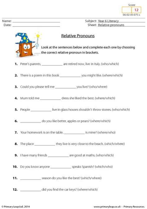 primaryleap co uk relative pronouns worksheet more 5th