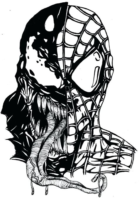 spiderman venom drawing  getdrawings