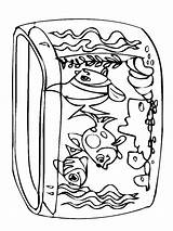Coloring Tank Aquarium Fish sketch template