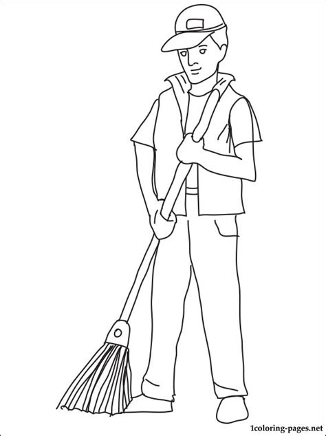 janitor coloring page coloring pages