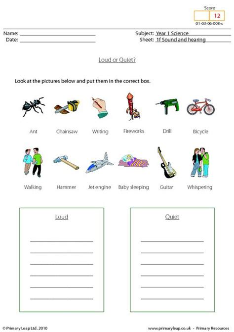 science loud  quiet worksheet primaryleapcouk