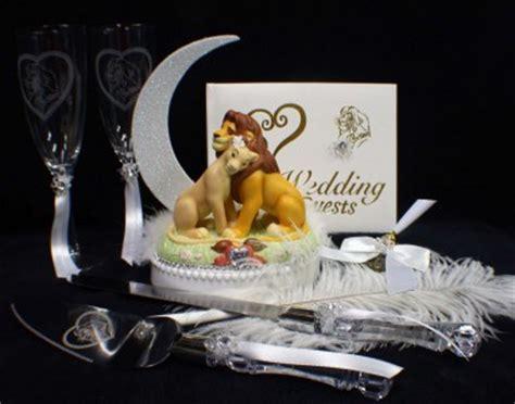 lion king disney wedding cake topper lot glasses server