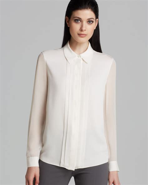 sheer white blouse armani blouse sheer sleeve in white lyst