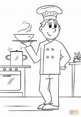 Coloring Chef Pages Printable Drawing Community Helpers Professions Paper sketch template