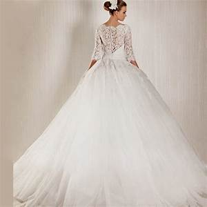 Ball gown wedding dresses with lace sleeves naf dresses for Long white wedding dresses