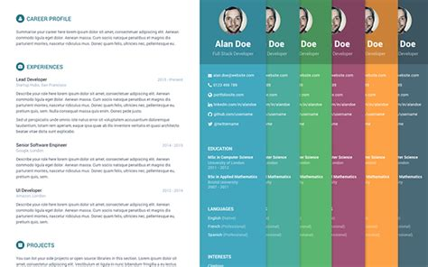 Themes Resume by Free Bootstrap Resume Cv Template For Developers Orbit