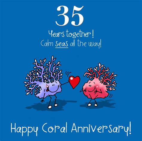 buy 35th birthday wedding anniversary 35th wedding anniversary greetings card coral