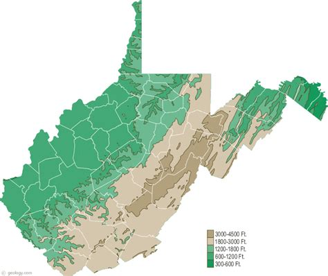 west virginia physical map  west virginia topographic map