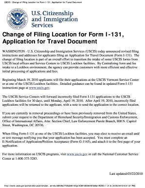 fillable online change of filing location for form i 131