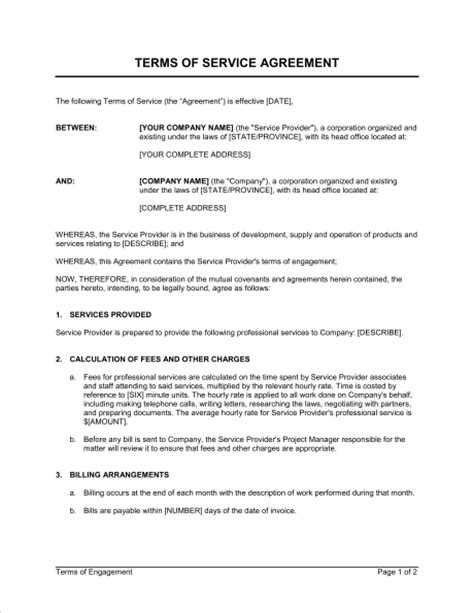 terms  service agreement template word