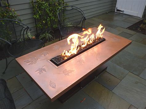 build gas fire table copper with leaf emboss fire table copper top with