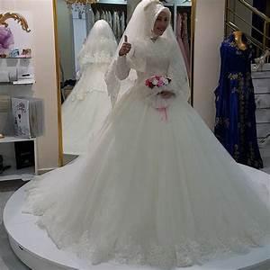 muslim wedding dress 2016 high neck appliques lace long With robe de mariée pour femme voilée