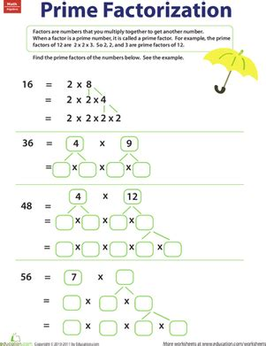 prime factorization worksheet education