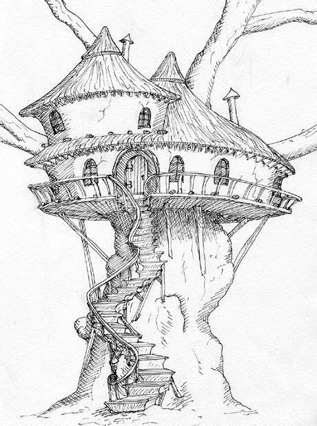 Baumhaus  Fantasy  Zeichnungen, Zeichnen, Gebäude Zeichnung