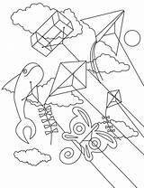 Kite Coloring Kites Flying Pages Drawing Sheets Festival Printable Getdrawings Detailed sketch template