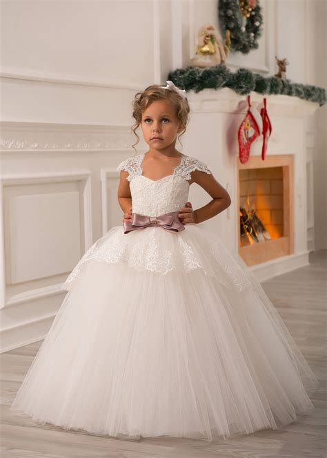 ivory lace tulle cap sleeves floor length princess flower