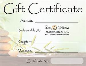 lafusion massage spa gift certificate tulsa spa gifts With massage therapy gift certificate template