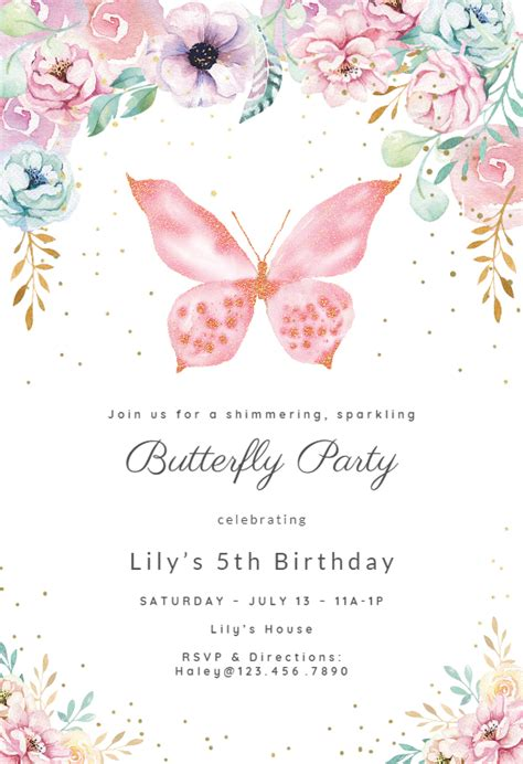 pink glitter butterfly birthday invitation template