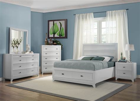 zandra white platform storage bedroom set  homelegance