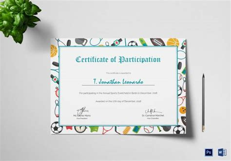 sample participation certificates sample templates