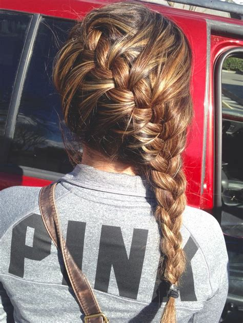 french braid  brown hair  blonde  carmel