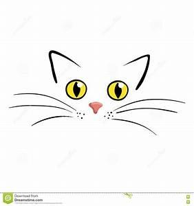 Cat Face On White Background Vector Illustration Stock ...
