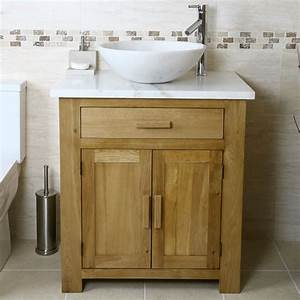 50% Off Oak Vanity Unit with White Marble Top Bathroom