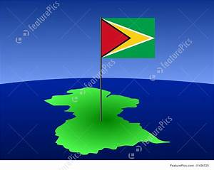 Illustration Of Map Of Guyana With Flag
