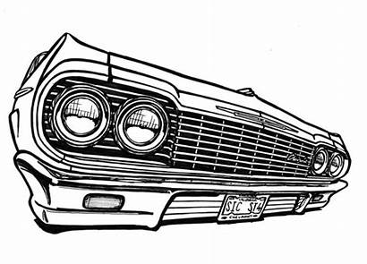 Impala 1964 Lowrider Chevy Drawing Chevrolet Coloring