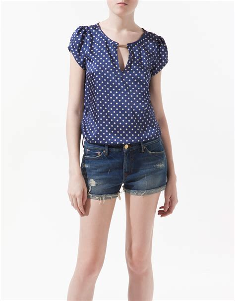 zara blouse zara polka dot printed blouse in blue lyst