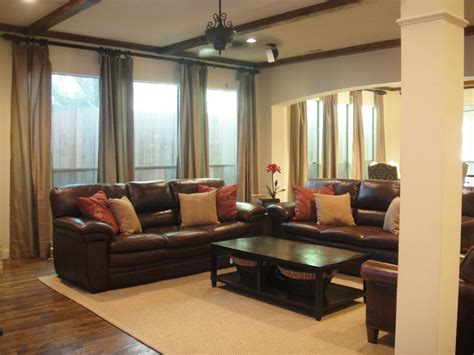 brown leather living room furniture curtains on pinterest