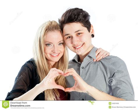 Same Sex Couple Isolated On White Background Stock Image