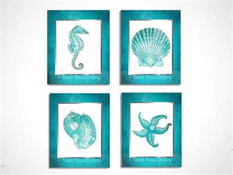 teal wall set of 4 prints turquoise teal white seahorse