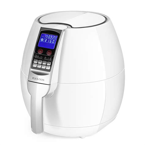 air fryer cooker electric dry steam basket oil less detachable fry digital healthy control fryers screen appliances kitchen flexzion wht