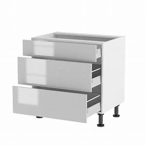 Meuble Bas A Tiroir : meuble bas 80cm 3 tiroirs 80 70 papillote gri achat ~ Edinachiropracticcenter.com Idées de Décoration