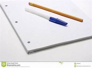 Pen And Pencil On Lined Paper Stock Photo - Image: 2929658
