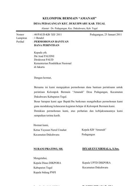 contoh surat permohonan bantuan dana  menteri pendidikan