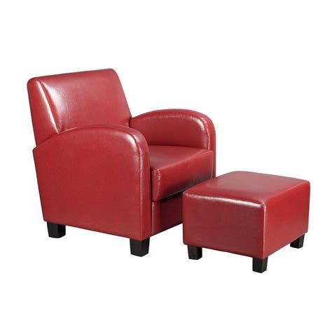 arm chair with ottoman ospdesigns crimson red vinyl arm chair with ottoman