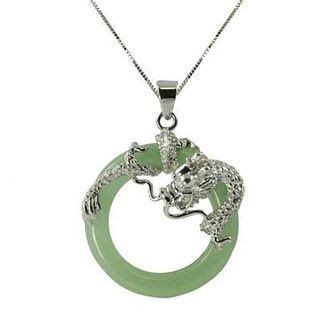circle jade dragon pendant  sterling silver view