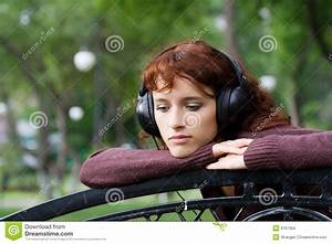 Sad Young Fashion Woman Listening To Music Stock Images ...
