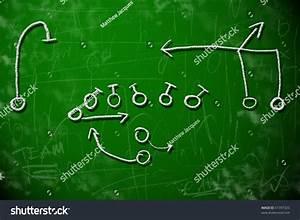 American Football Playbook Diagram On Chalkboard Stock