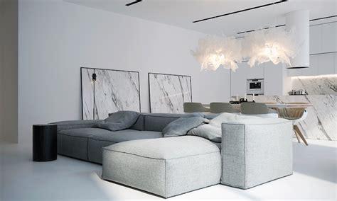 interieur canape intérieur blanc moderne salon avec grand canapé d 39 angle