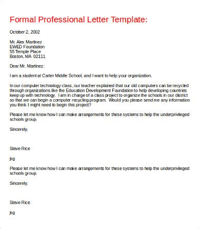 Professional Letter Template Professional Letter 8 Free Word Pdf Documents