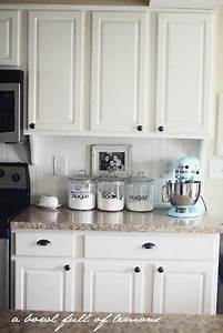 Canisters with dicut letters color of countertop white for Kitchen colors with white cabinets with papiers à lettre
