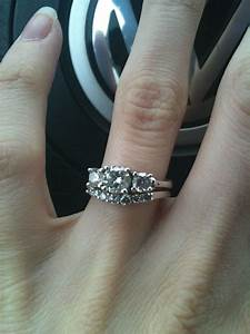 show me your three stone e rings with straight wedding With wedding bands that go with 3 stone rings