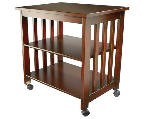 Wheeled Storage Wood Finish Table Wheels Side Portable