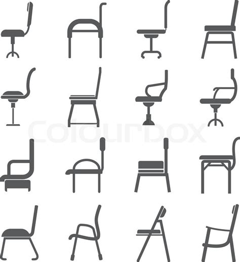 sofá restaurante vetor chair icons in side view stock vector colourbox