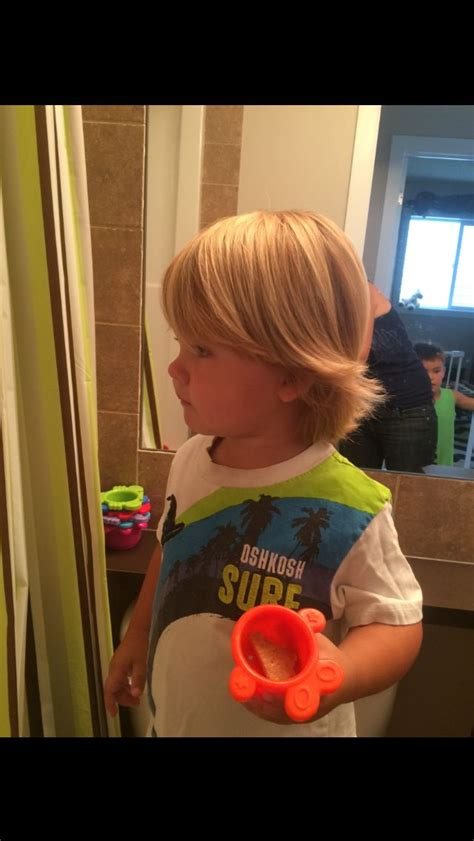 toddler boy long blonde hair surfer hair