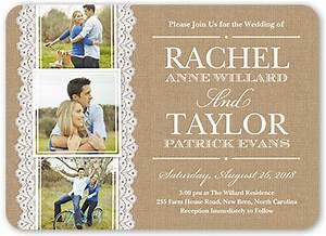 burlap and lace 5x7 wedding invitations shutterfly With wedding invitation by shutterfly
