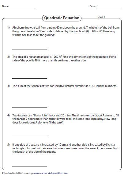 solving quadratics using zero product property worksheet